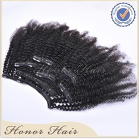 Wholesale cheap unprocessed natural brazilian virgin remy kinky curly clip in hair extensions for black women