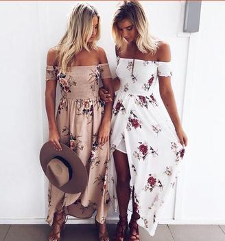 Summer Dresses Boho Style Long Dress Women Off Shoulder Beach Floral Print  Vintage Chiffon White Maxi a83a1b1ca