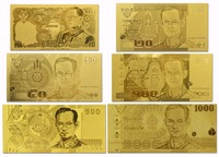 Full Thailand 10,20,50,100,500,1000 Baht Banknote Set 24K Gold Banknote Popular Collection Gifts