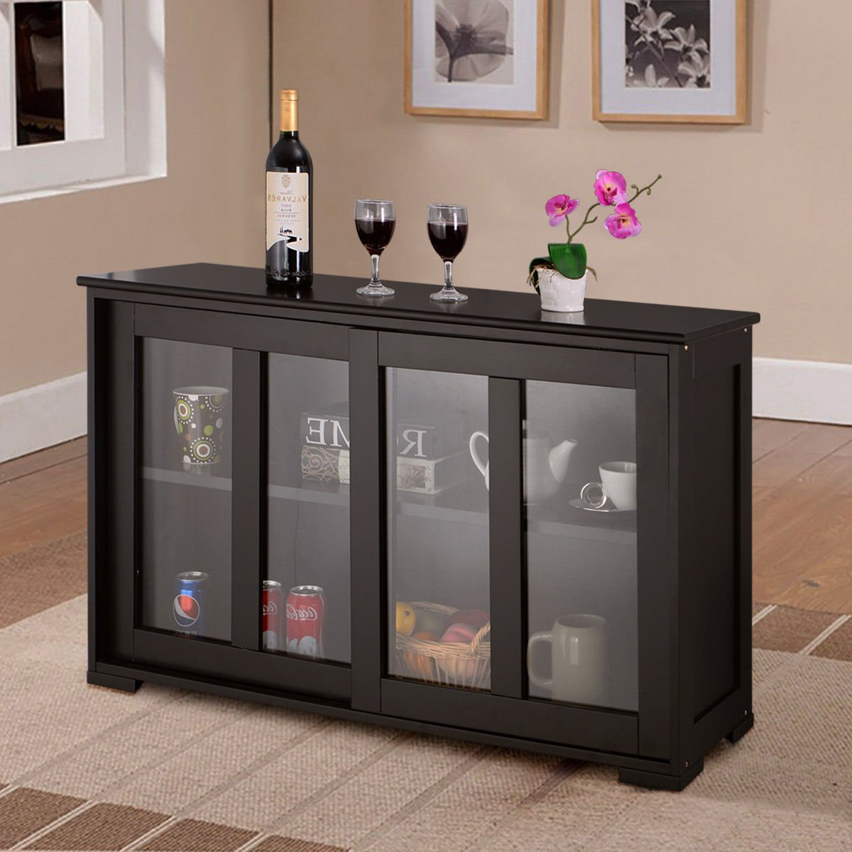 Sideboard Buffet Cupboard, Glass Sliding Door, Storage Cabinet Pantry, Ideal for Kitchen or Dining Room, Contemporary Style with Clean Lines, MDF and Tempered Glass, Black + Expert Guide