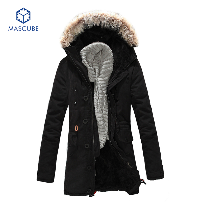 New Men's Fleece Faux Fur Winter Long Coat Hoodies Parka