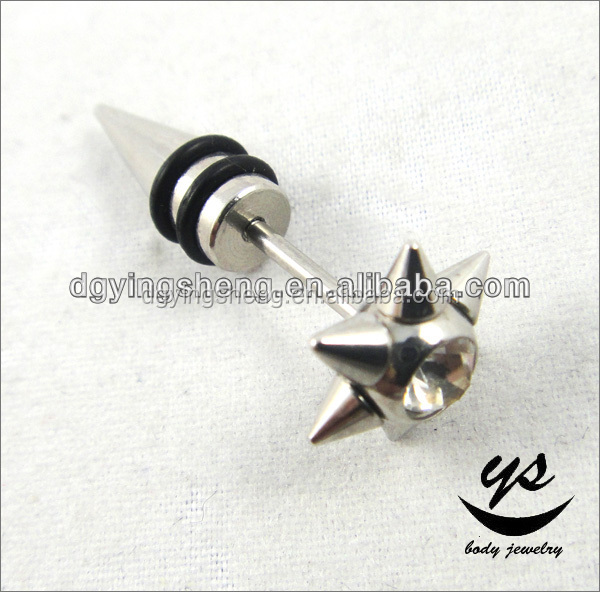 316l Surgical Stainless Steel Fake Taper Gauge W/ Crystal Spike Fake Taper For Body Jewelry