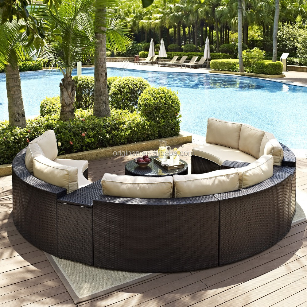 Semi circle patio wicker chairs with sectional arm tables for Outdoor garden furniture