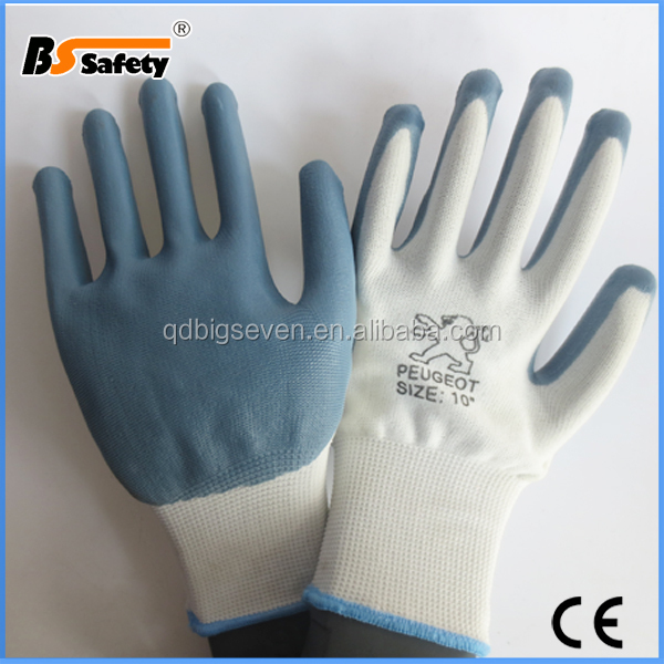 13g seamless polyester/nylon liner nitrile coated working gloves