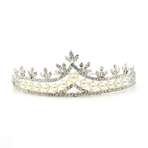 Rhinestone Tiaras And Crowns Bridal Hair Ornaments For Weddings Crystals Pearls Hair Accessories Forehead Jewelry Women Diadem