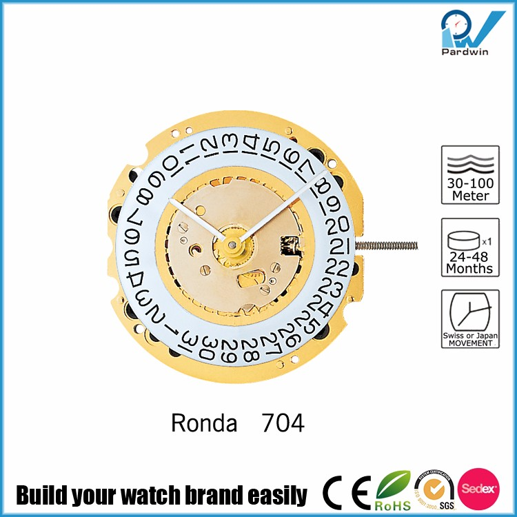 Repairable watch movement Ronda Quartz Movement normtech 704 Super Long battery life 60 months 5 jewels gold plated