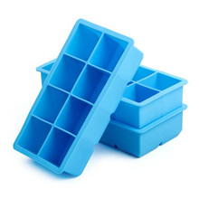 Hanchuan USSE custom ijs lade met grote 8 cubes vierkante vorm schimmel of blauw plein silicone <span class=keywords><strong>ice</strong></span> <span class=keywords><strong>cube</strong></span> tray