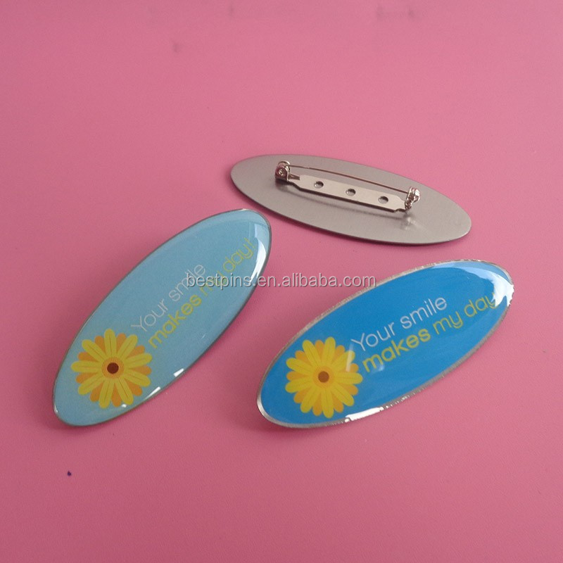 oval sunshine printing custom logo metal name plate with safety pin