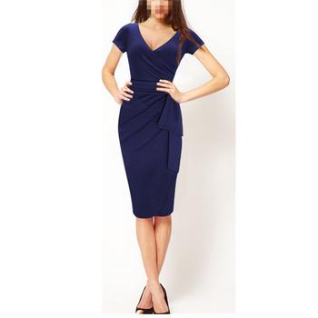 6eefe0389a1 Azul oscuro señoras último Oficina uniforme de moda de diseño de vestido  para mujeres vestido