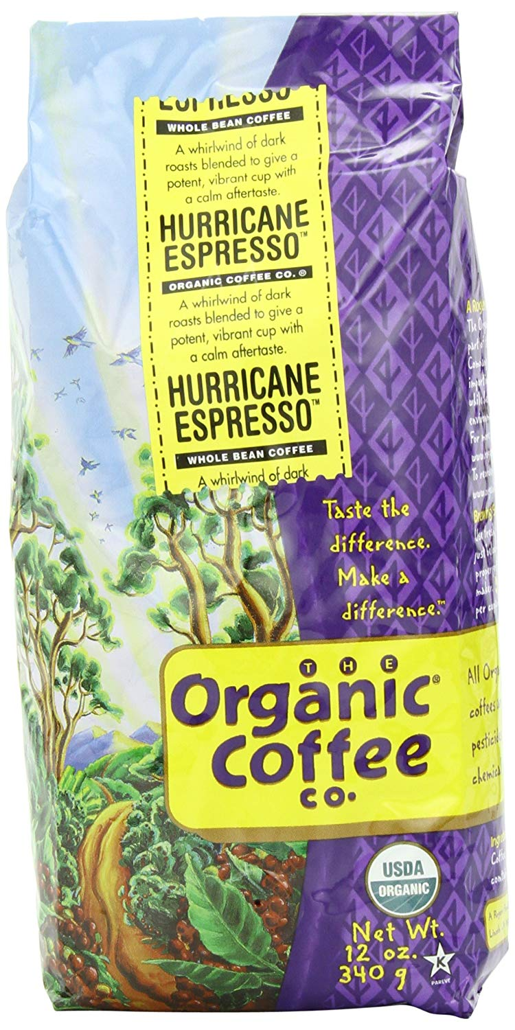 The Organic Coffee Co. Whole Bean, Hurricane Espresso, 12 Ounce (Pack of 3)