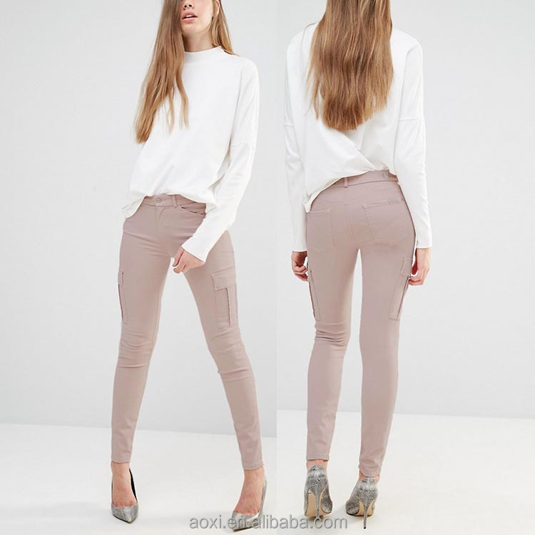 Apparel supplier casual wear stretchy 6 pockets low rise waist women skinny cargo pants