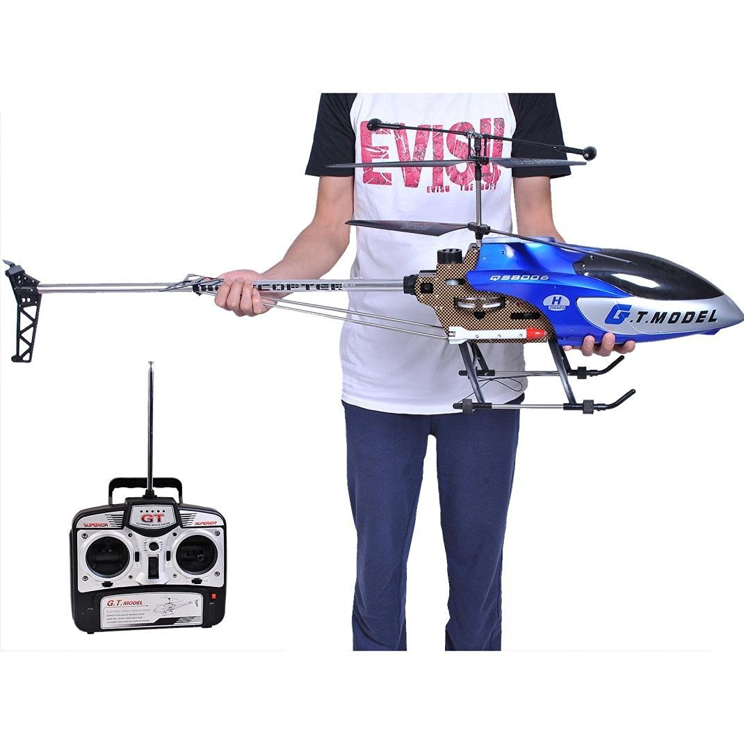 Helicopter,Baomabao 53 Inch Extra Large GT QS8006-2 Speed 3.5 Ch RC Helicopter Builtin Gyro Blue