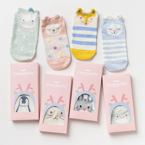 Queena Spring summer double pack ladies boat socks gift box cartoon animal AB Pair Socks