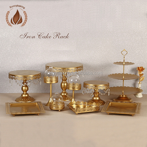 crystal hanging wedding round metal carriage cake stand for cake decoration supplies