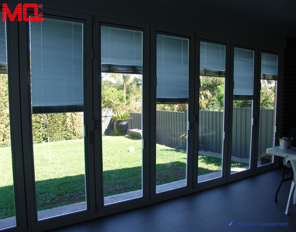 Garden Glass Folding Door With Blinds Insert - Buy Garden Folding ...