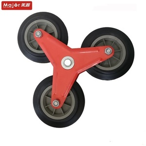Three wheel set solid rubber stair climbing wheels for hand trolley