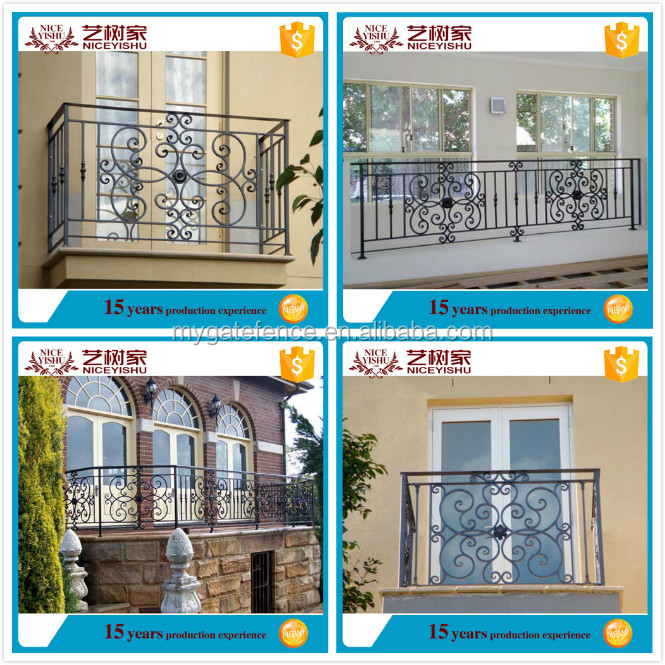 Yishujia factory sale outdoor wrought iron stair railing for Balcony safety grill designs