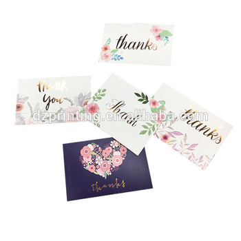 Gold Stamping Font Multicolor 36/48/100 Pack 4x6 Inch Thank You Card With Envelope
