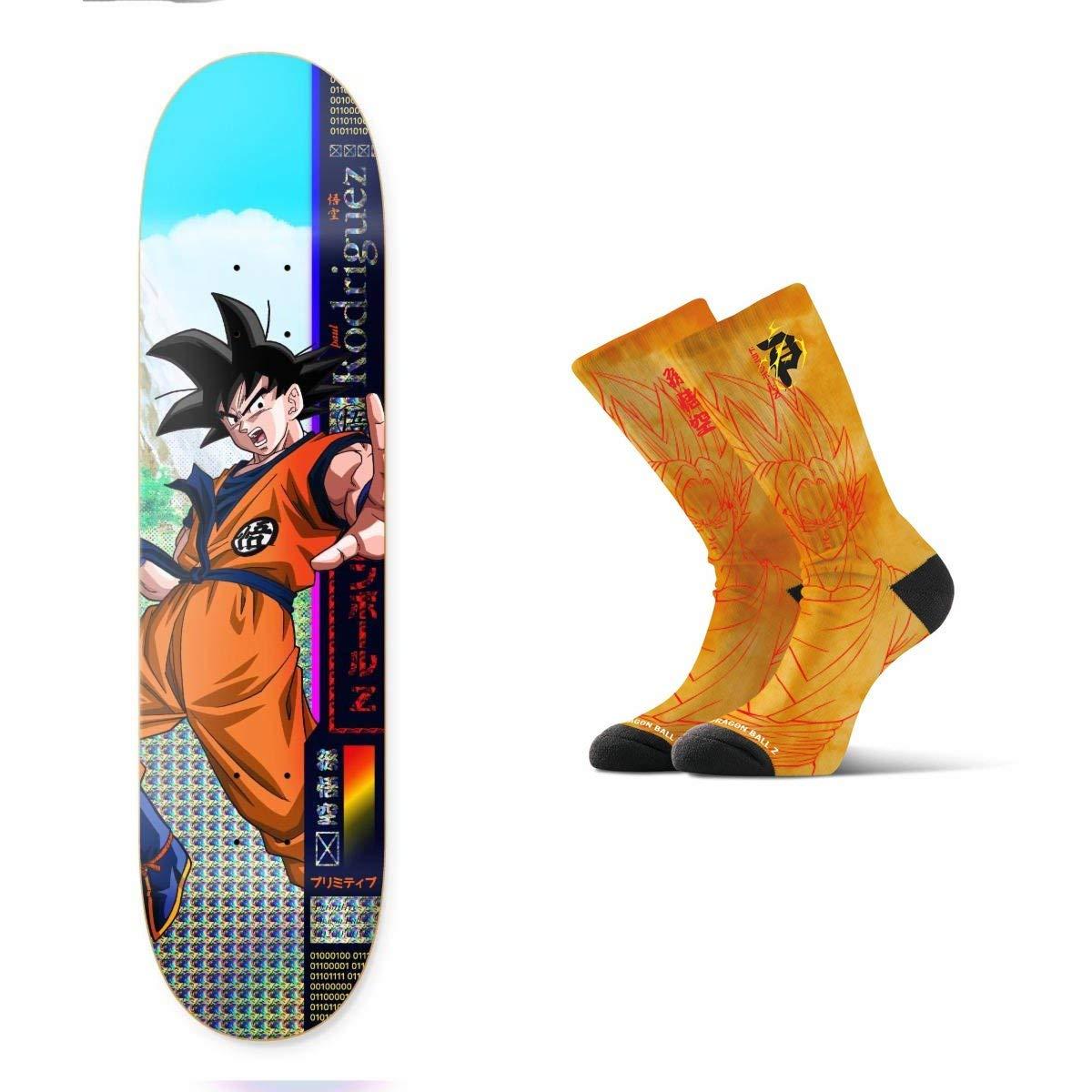 "Primitive Dragon Ball Z Rodriguez Goku Skateboard Deck 8.25"" Saiyan Yellow Socks"