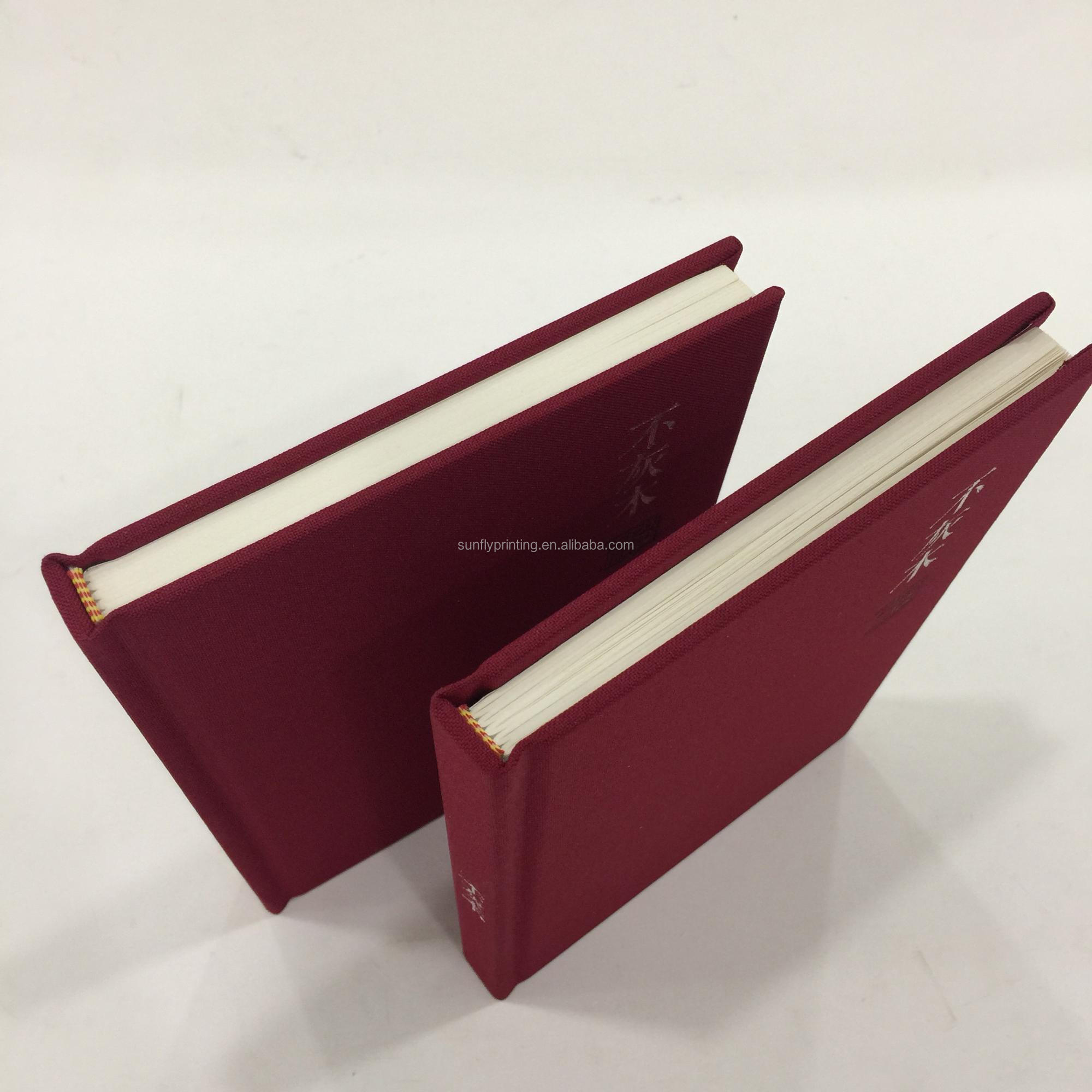 Cheap Price High Quality Red Cloth Hardcover Books Case Bound Printing Service A5 Custom Journal Book Printing