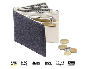 Teenagers men boy canvas wallet with zip coin pocket slim bifold fabric travel wallet