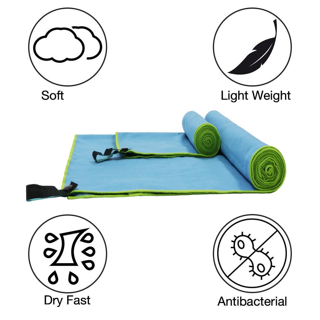 Kualitas Premium Pengeringan Roll Besar Kustom Dicetak Suede Microfiber Pantai Perjalanan Golf Gym Olahraga Handuk dengan Tas Jaring