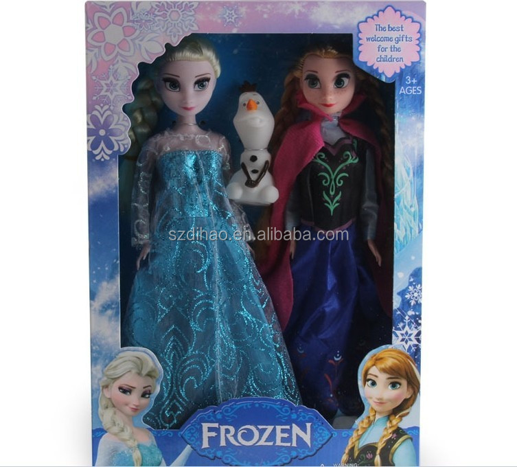 DIHAO Frozen Hot selling frozen <strong>doll</strong> wholesale frozen movable joints <strong>doll</strong> elsa and anna 11.5 inch including Olaf <strong>Doll</strong> with Sound
