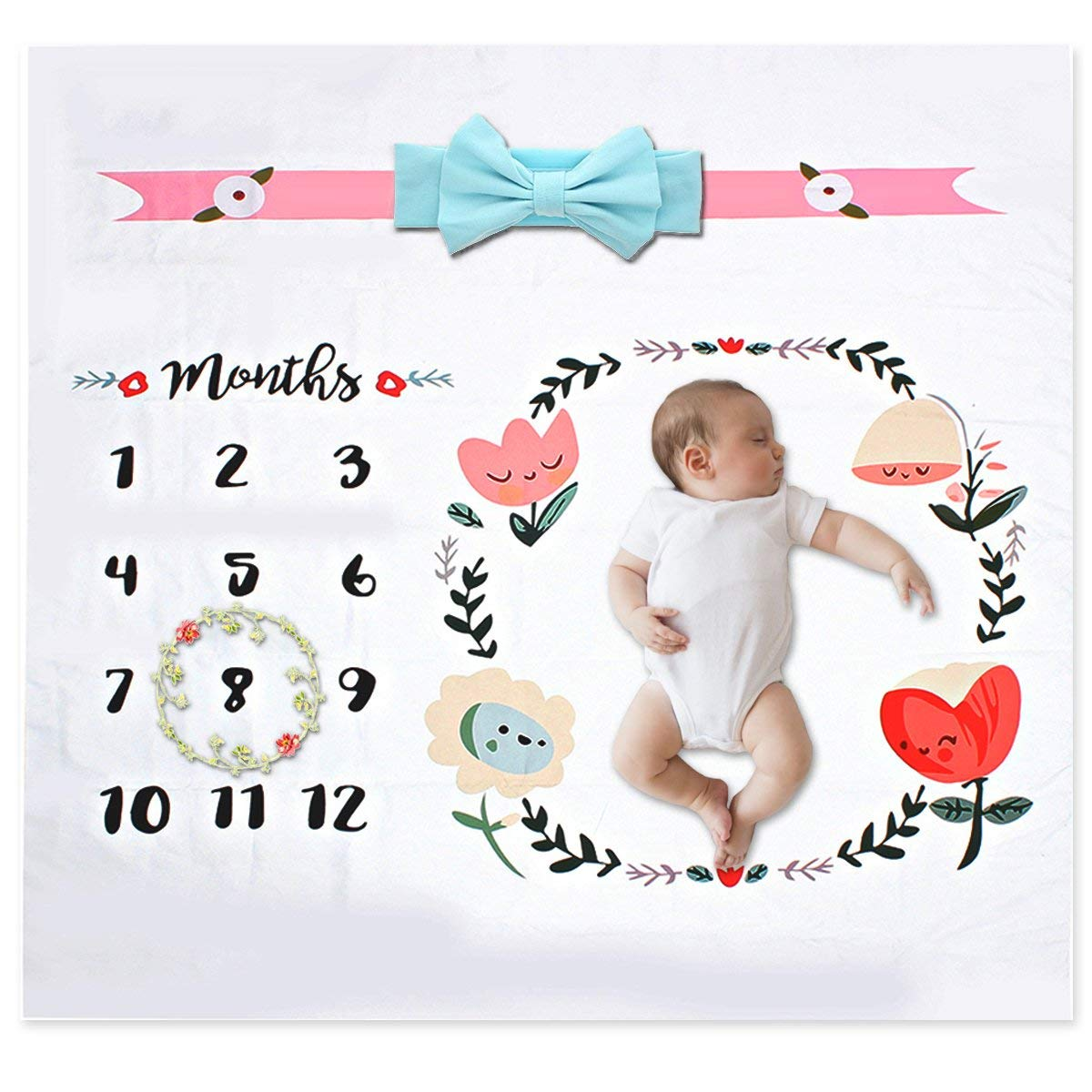 FunSponsor Baby Monthly Milestone Blanket 40x40, Infant Photography Background Prop, Great for Unique DIY Newborn Baby Swaddling Blanket Photos (Bonus: Headband with Gift Pouch)
