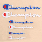 custom white blue color embroidered champion logo patch for clothing