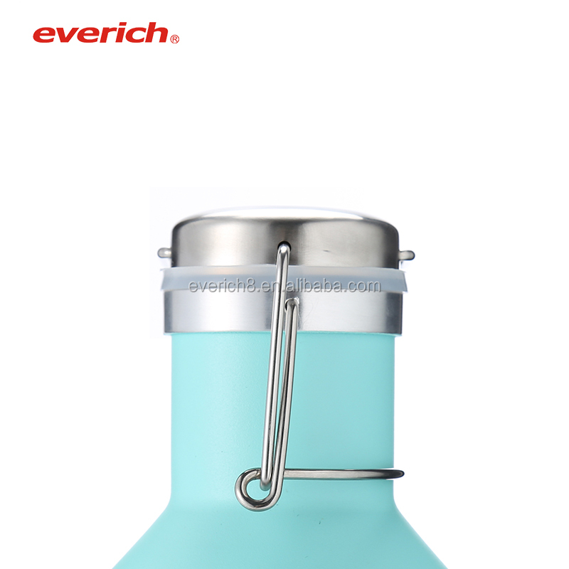Leak-Proof Stainless Steel Double-Walled Vacuum Insulated Beer Growler, 64ounce Thermal Flask, stainless steel 64oz bottle
