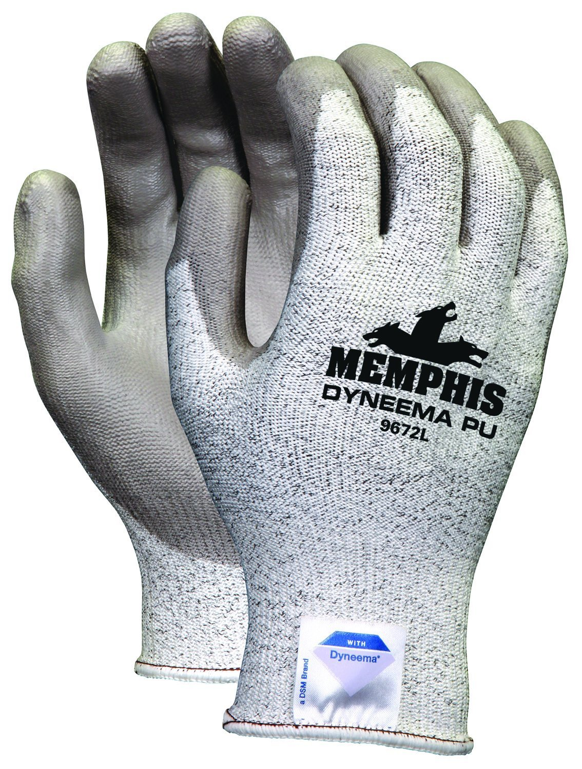 Memphis Glove 9672M Dyneema 13-Gauge Polyurethane Salt and Pepper Shell Gloves with Palm and Finger Coating, Gray, Medium, 1-Pair