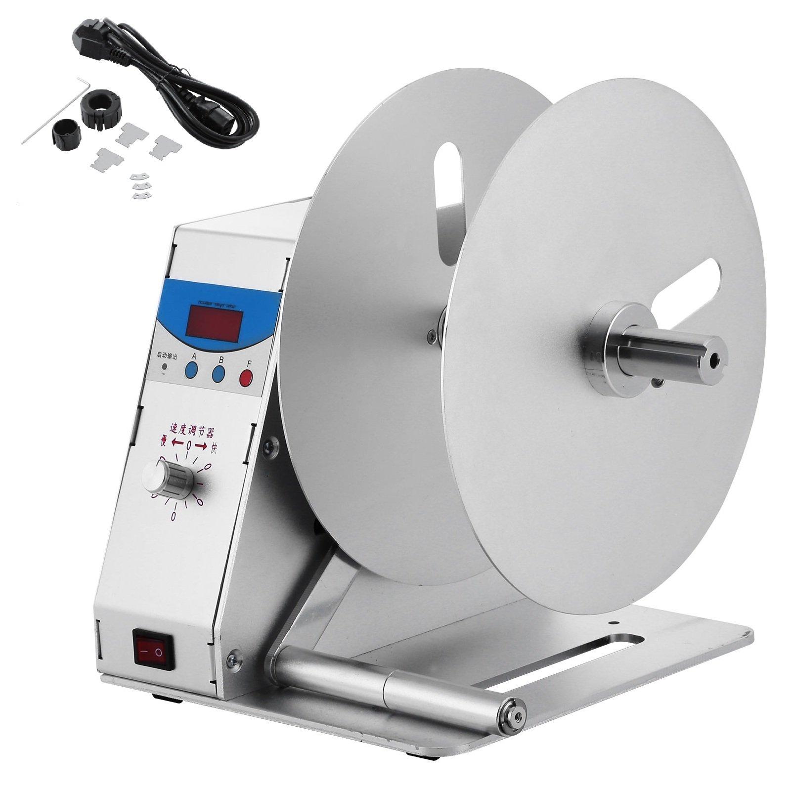 Superland Label Rewinder Machine 0~50r/min Adjustable Speed Automatic Label Rewinding Machine 110V Digital Tags Rewinder for Office Industrial Warehouse Production Line (Automatic Label Rewinder)
