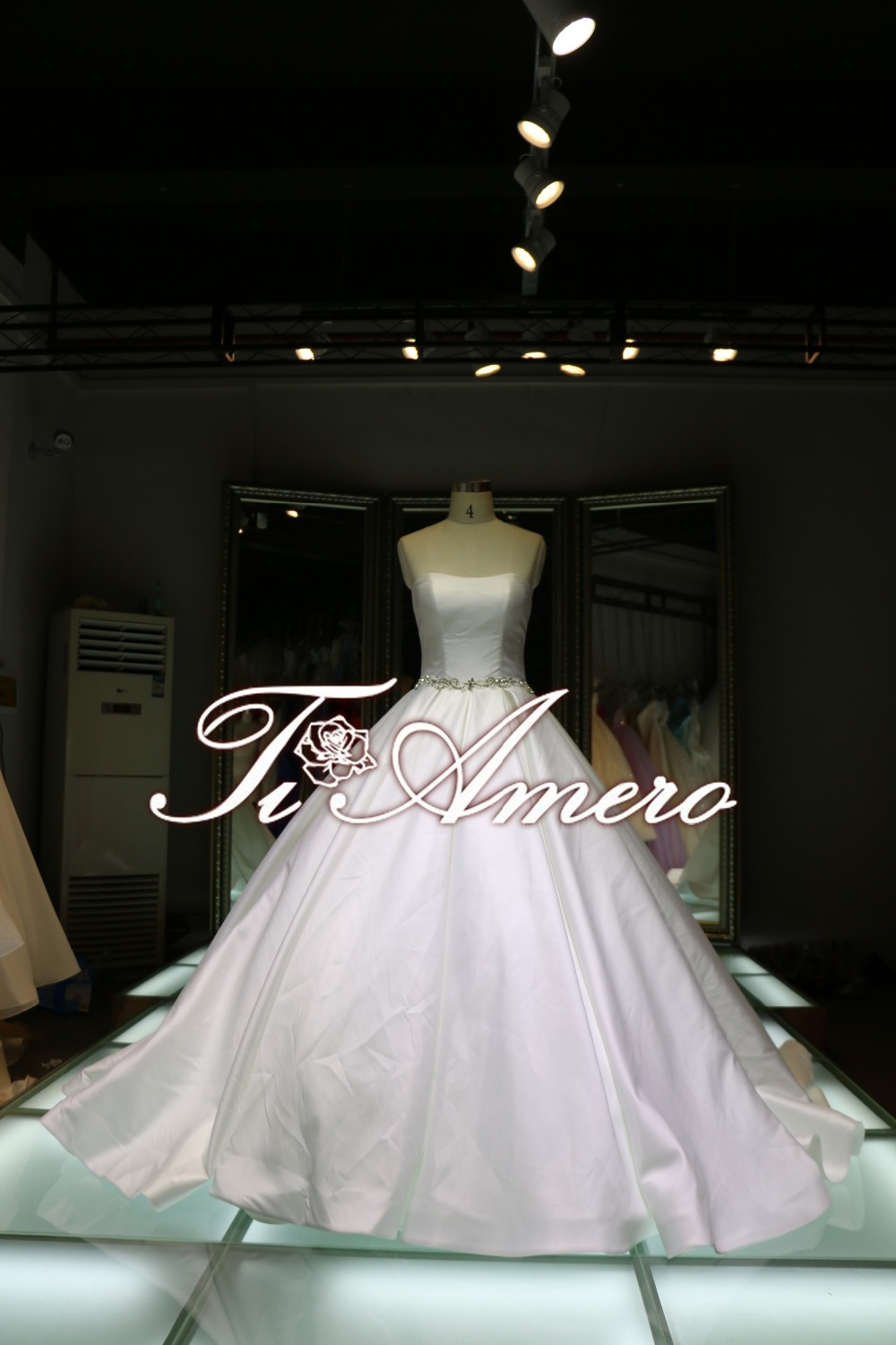 High Quality Ball Gown Wedding Dress For Pure Girl/cream Colored Bow ...