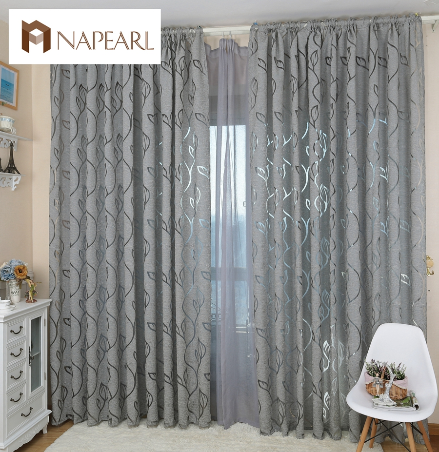 Modern Gray And White Bedroom: Modern Decorative Curtains Jacquard Gray Curtains Window