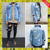Custom blue slim bomber jeans jackets men 2017 used clothes wholesale distress boyfriend denim jacket
