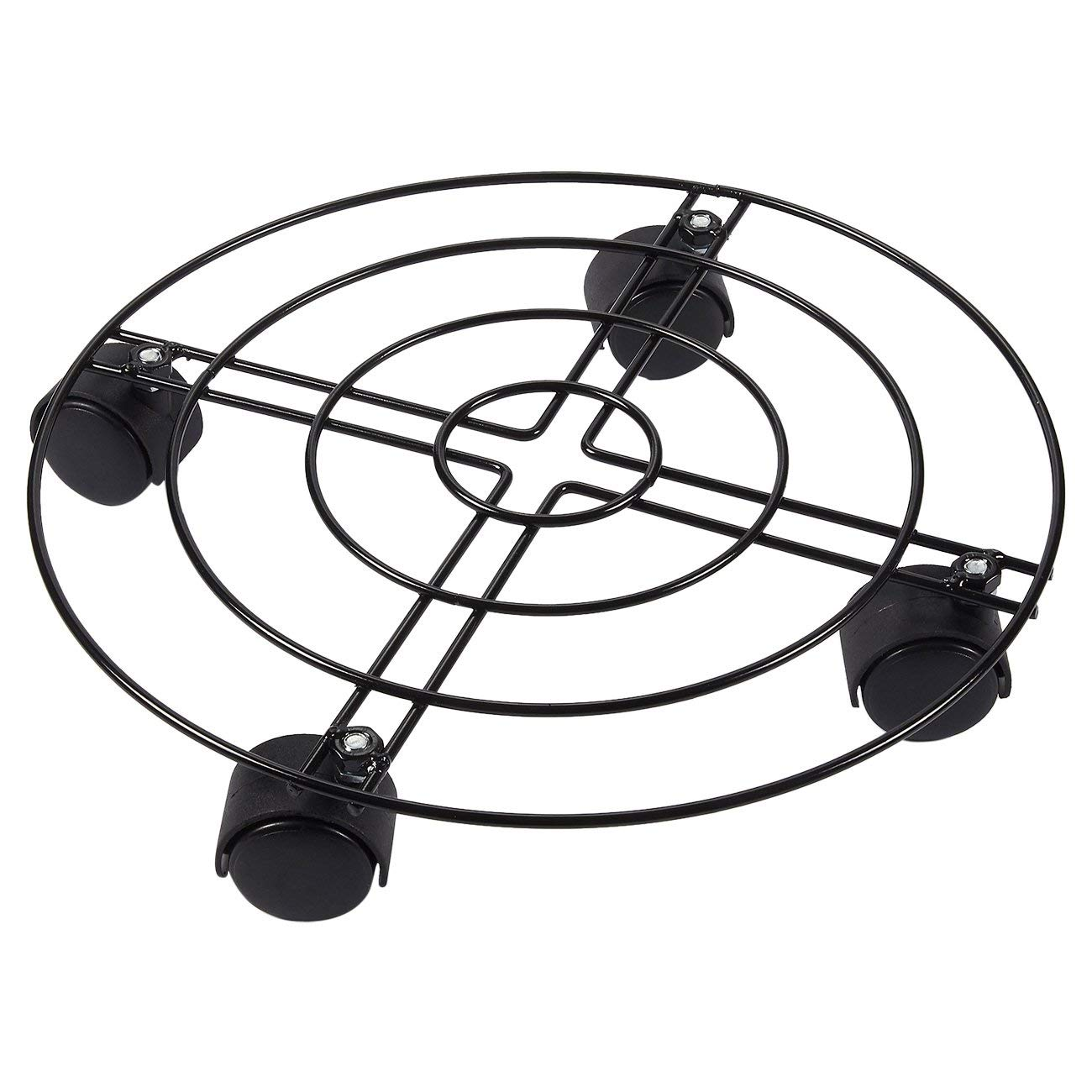 Metal Plant Caddy - Iron Plant Dolly on Round Rack, Rustproof Flower Pot Stand with Heavy Duty Wheels for Indoor, Outdoor, Home, and Garden in Black