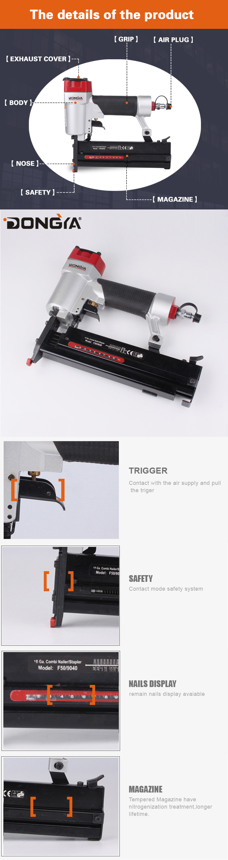 Dongya 18Ga 2 in 1 F5040 DIY Air Nailer and Stapler for Wood