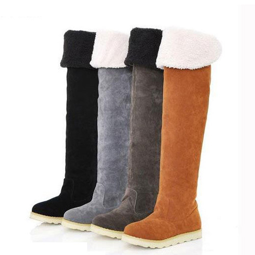 eb61166c649 Buy 2015 New Arrival Sexy Women Black Over Knee High Faux Suede Stretch Winter  Snow Thigh High Boots Lady Slim Flat Heel Long Shoes in Cheap Price on ...