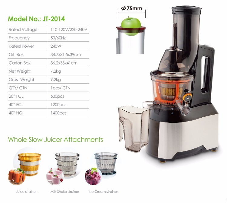 Healthy Juice Extractor Whole Slow Juicer Jt-2014 - Buy ...