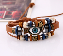 Partnervow Fashion Design New Ethnic Style Leather Bracelet Men Jewelry