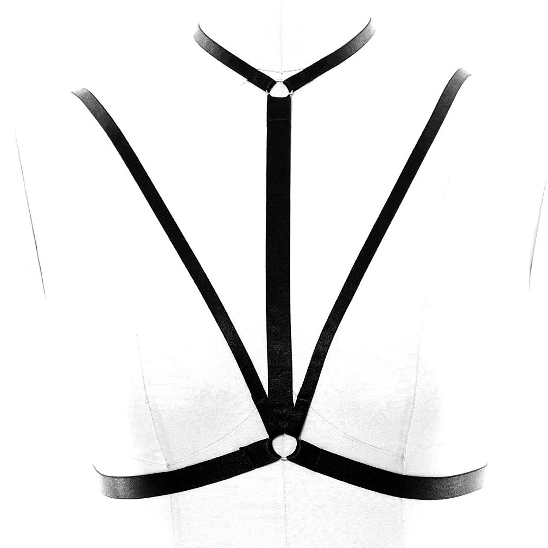 6116cf7a34 goth HARNESS cage bra black Elastic lingerie Fetish bra cage bondage Plus  size harajuku Goth belt wear dance party dress garter