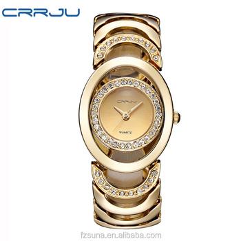 5dd06f3455f7 CRRJU de lujo reloj de las mujeres de marcas famosas de oro pulsera de  diseño de