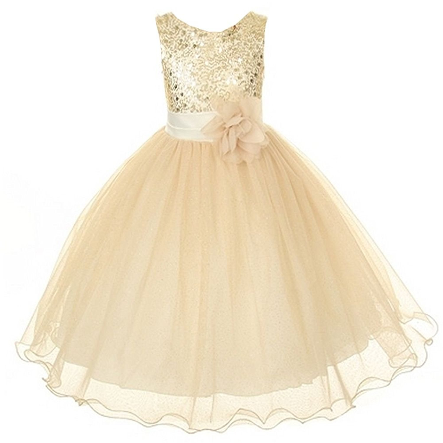 90d4d078a04 Get Quotations · Sequin Bodice Tulle Special Occasion Holiday Flower Girl  Dress