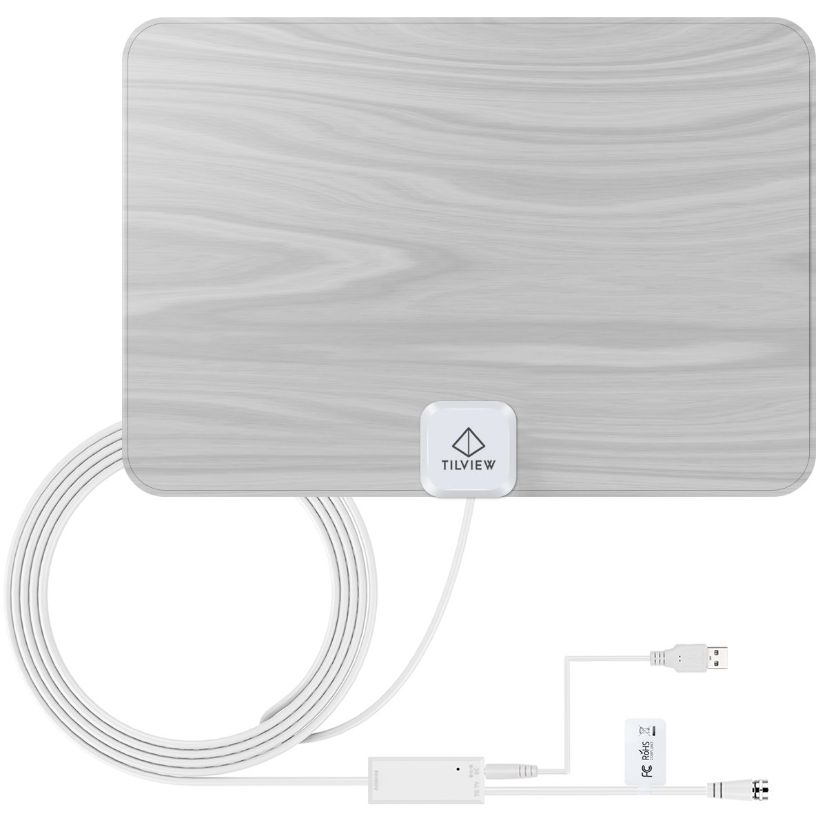 TV Antenna, TILVIEW Amplified HD Digital TV Antenna 50 Miles/80KM Range Ultra-Thin Indoor Amplifier Signal Booster with FM / VHF / UHF Reception 20ft/6M Coaxial Cable with 5ft/1.5M USB Power Cable