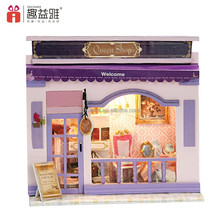 2017 China beautiful design DIY house wooden toy European minaiture shop with light