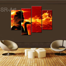 Modern Wall Art Canvas Prints Red and Yellow Fire Woman Printing Painting People Pictures for Home Decor Festival Gift