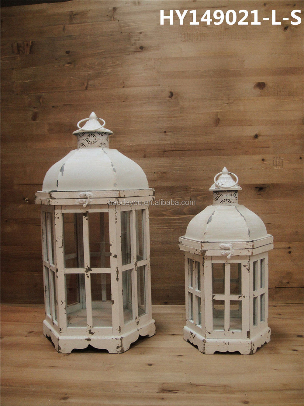 Large Metal Top Bronze Decorative Candle Lantern