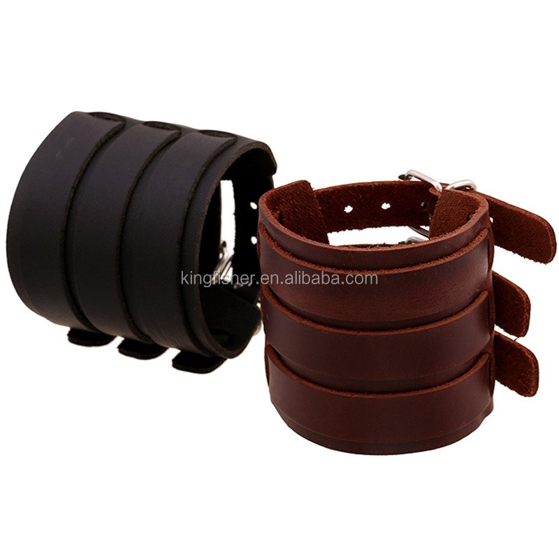 Rock punk wide 3 belts genuine leather bangle men jewelry
