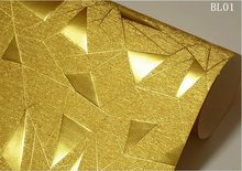 Обои с геометрическим рисунком, треугольные, необычные, светоотражающие, фольга, KTV бар, светло-золотые, для клубов(Китай)