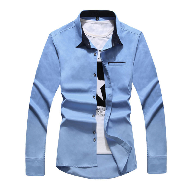 2015 New Arrival Summer Style Men Shirt Fashion Patchwork Solid Long Sleeve Slim Fit Shirt For Men Brand Mens Dress Shirt
